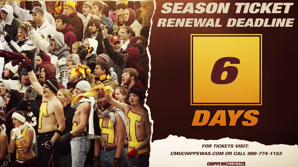 🔥⬆️  Only 6️⃣ more days to renew your 🏈 season 🎟 and secure your seats in Kelly/Shorts 🏟‼️  Every season ticket comes with a sideline 🎟 for the Oct. 1️⃣7️⃣ Western Michigan rivalry game at Ford Field valued at 💲4️⃣0️⃣‼️   🎟:   #FireUpChips🔥⬆️