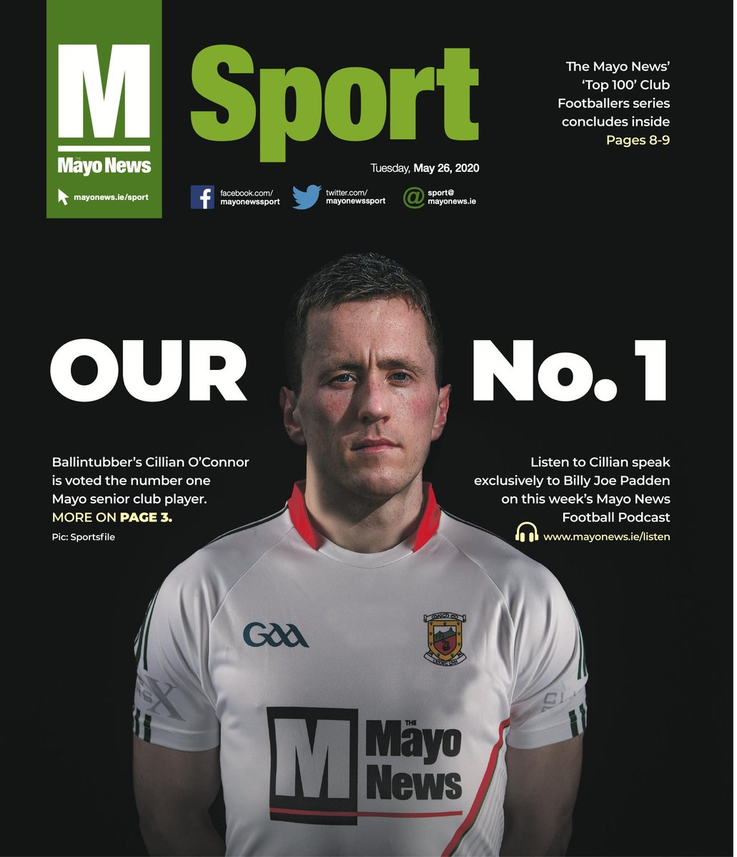 In today's 16-page sports section: Mayo GAA officials making provisional plans for return to action; Pearce Hanley on restarting in the AFL; Mayo soccer referee Damien McGrath on coping with the shutdown; and we reveal our Top 25 Mayo senior club player rankings. #mayogaa #mayo pic.twitter.com/KU7YLJNK4u