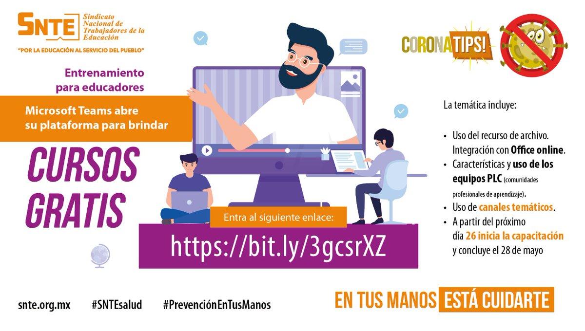 #SNTEsalud ⚕️ ‼️IMPORTANTE‼️ Maestr@s👩🏫👨🏫 Microsoft Teams @MSFTMexico 🖥️ ofrece cursos gratis: Aprendizaje remoto 🧑💻🔛🧑🏫 del 26 al 28 de mayo 🗓️ Aquí 👉 bit.ly/3gcsrXZ 👈 #QuedateEnCasa Aprovecha la oportunidad al 💯✅ #FelizMartes #26Mayo #AprendeEnCasa #COVID19