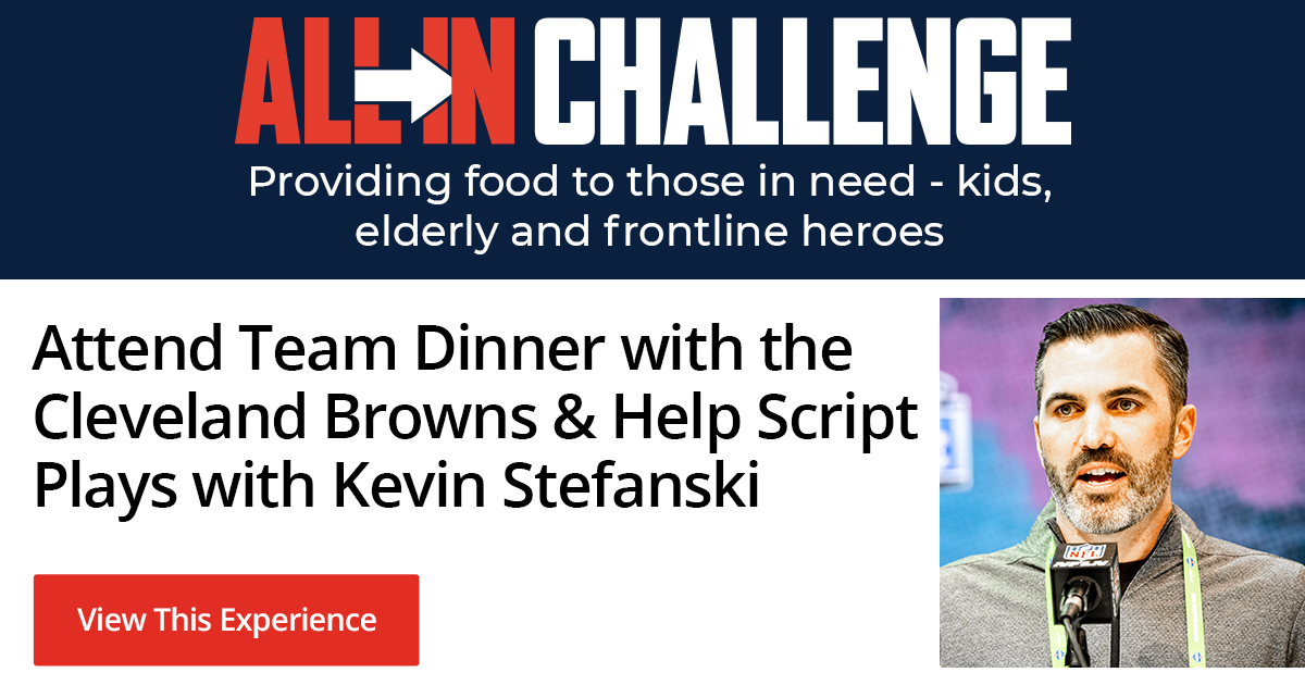 Script 15 plays for a preseason game w/ Coach Stefanski ☑️ Attend team dinner the night before the game ☑️ Lead the team out of the tunnel ☑️ This (and more) could all be yours + its for a good cause! Details » brow.nz/057a6 #ALLINCHALLENGE @allinchallenge