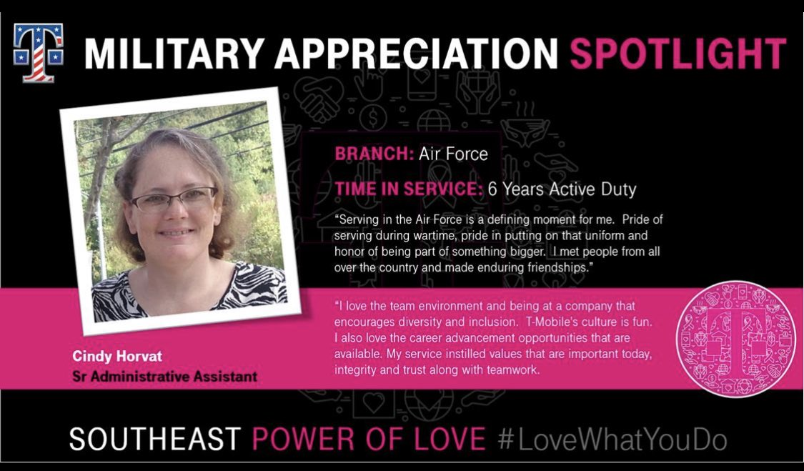 Spotlight on @cynthiahorvat this #MilitaryAppreciationMonth. She takes pride in her service & uniform. @Tmobile, Diversity & Inclusion and FUN fuels her #SEPowerOfLove! #WeSaluteYou and thank you for your service, Cindy!