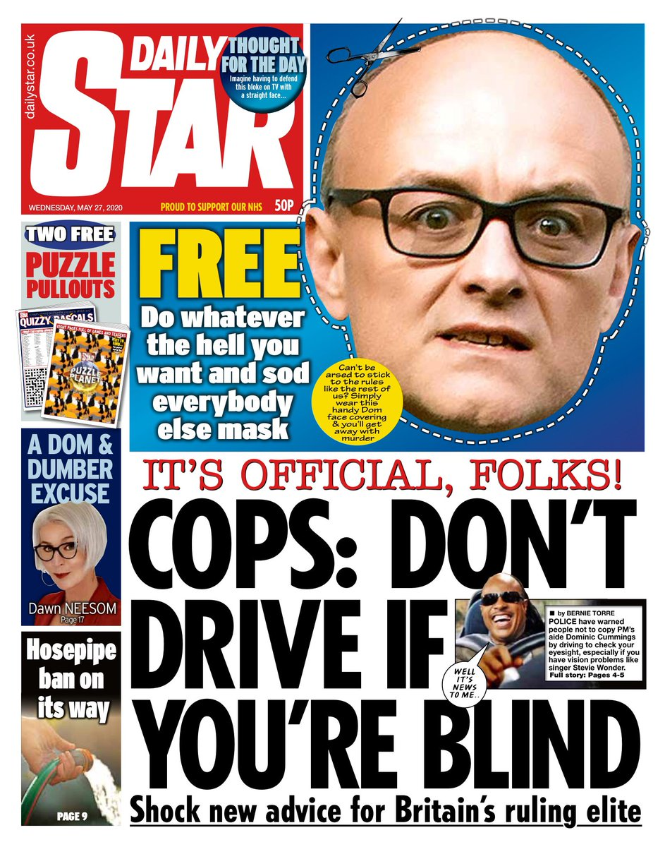 Wednesday's Daily Star: Cops: Don't drive if you're blind #tomorrowspaperstoday