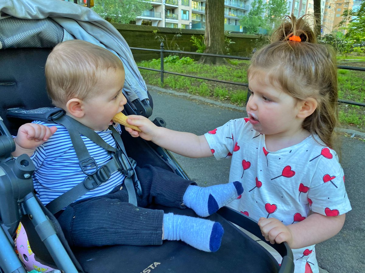 Story's first ice cream. Shoved in his face by big sister Sunny🍦🤷🏻♀️