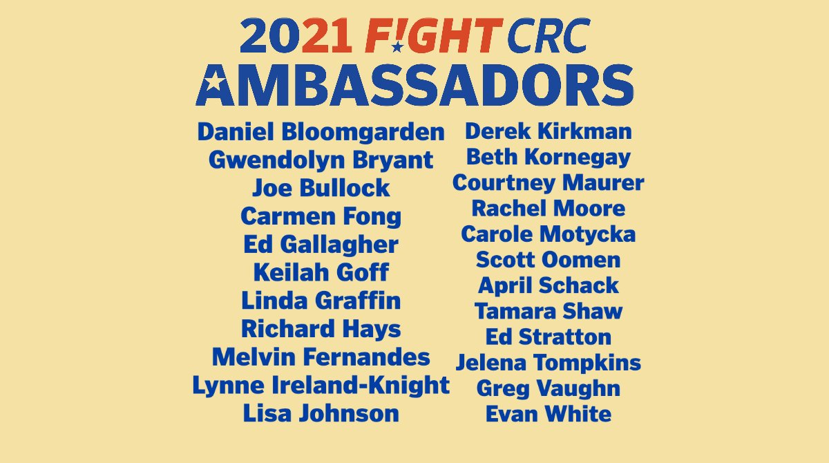 We are excited to announce the 2021 Ambassador Class! #FightCRC Ambassadors are a dedicated group of #ColorectalCancer patients, survivors, caregivers, and family members who push for better policies, research, education, and support for all those touched by this disease. pic.twitter.com/NW75o50ZZc