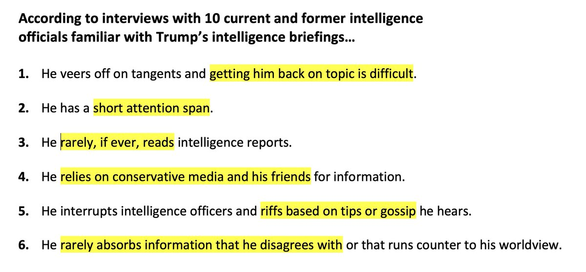 NYT spoke to 10 current and former officials for a story on Trumps intelligence briefings — perhaps the most important part of his job. Heres what they found. This would be an absolutely devastating exposé for any POTUS. With Trump, it barely registered. nytimes.com/2020/05/21/us/…