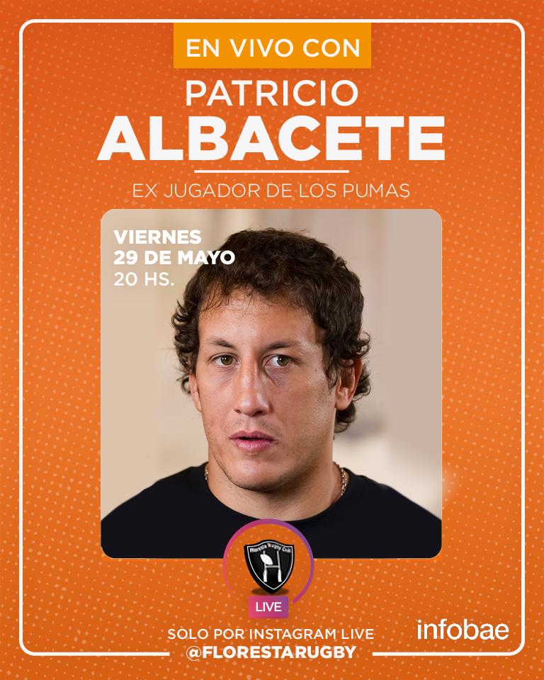 """Este Viernes tenemos el agrado de charlar con Patricio """"Pato"""" Albacete (Officiel), exjugador de #LosPumas!  Segui nuestra serie de charlas todos los martes y viernes! . . . . . #FlorestaRugbyClub #InstagramLive #EnCasa #PatricioAlbacete #Pumas #Rugby #FRC #RugbyArgentino @infobaepic.twitter.com/QDDdNIUa83"""