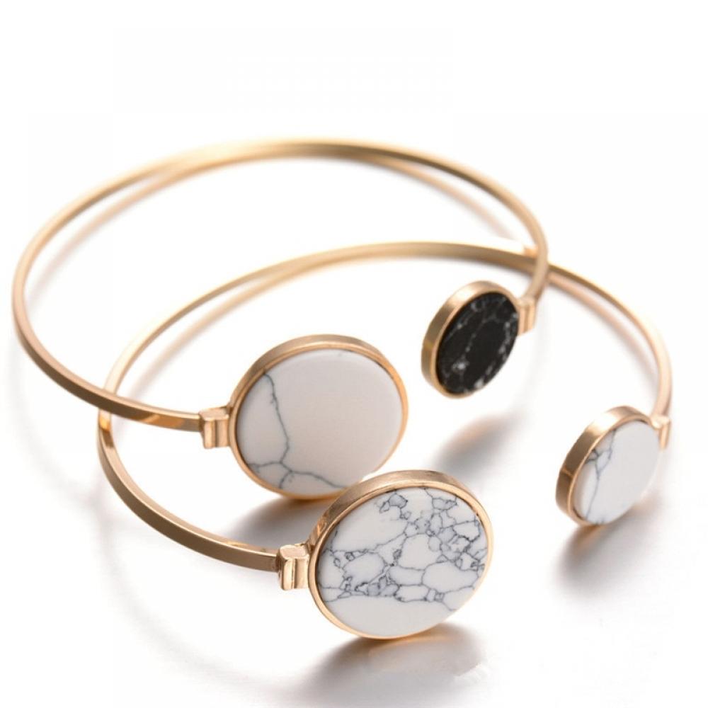 #luxury #jewels White and Black Marble Stone Bangle
