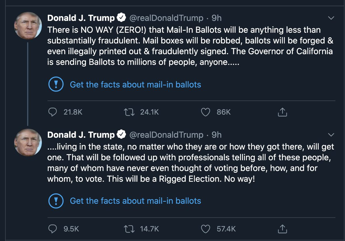 Twitter added a fact-check to President Trumps false tweets this morning about mail-in ballots. It links to this: twitter.com/i/events/12653…