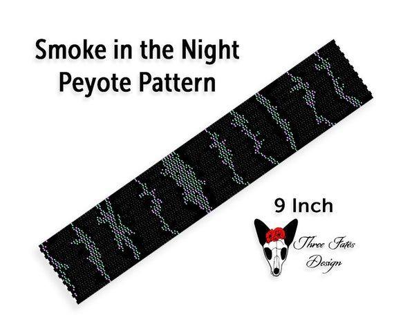 Peyote Bracelet Pattern, Smoke in the Night, Two Drop Even Count Seed Bead Bookmark Tutorial   #etsy #beadwork #bracelet #pattern #threefatesdesign #diy