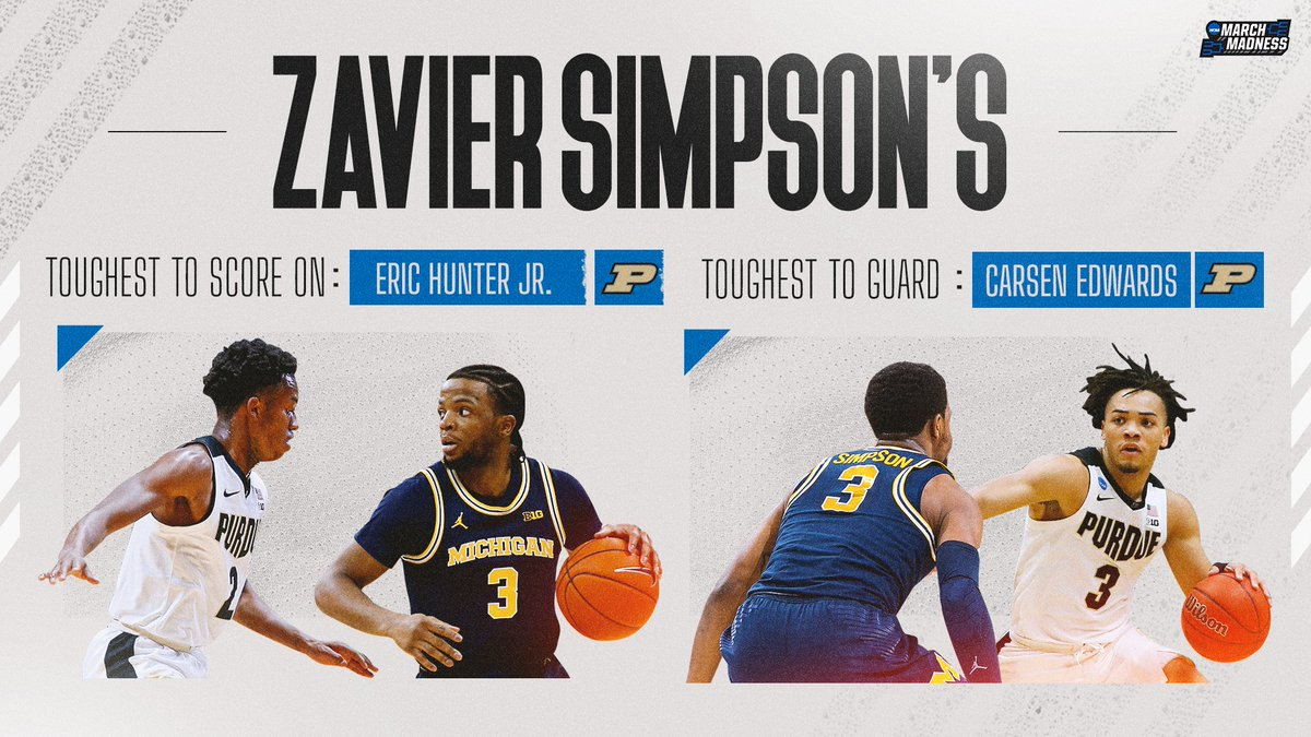 A pair of Boilers gave Zavier Simpson the most trouble during his college career. 👀  Toughest to Guard: 🏀 Carsen Edwards  Toughest to Score On: 🏀 Eric Hunter Jr  @Xaviersimpson3 reflects on his time in the Big Ten on the #MM365 pod! 🎧 https://t.co/zpcSxPxl97 https://t.co/Rn4CRzXLcm