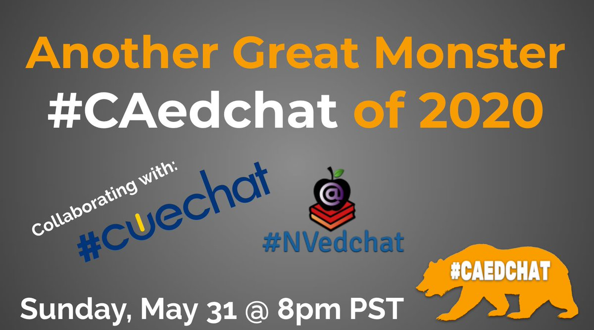Thanks for coming to #cuechat Next week will be Another Great Monster by #caedchat #cuechat #nvedchat on Sunday, May 31st @ 8pm PST