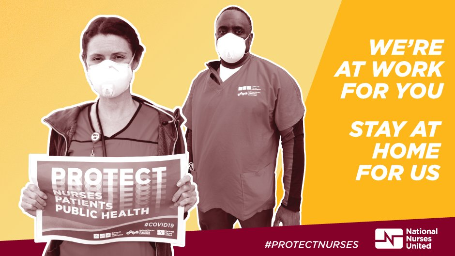 Nurses and essential workers STILL don't have PPE to do their jobs safely.  Please #StayHome to help stop the spread of this deadly virus. pic.twitter.com/murmbKGS3Y
