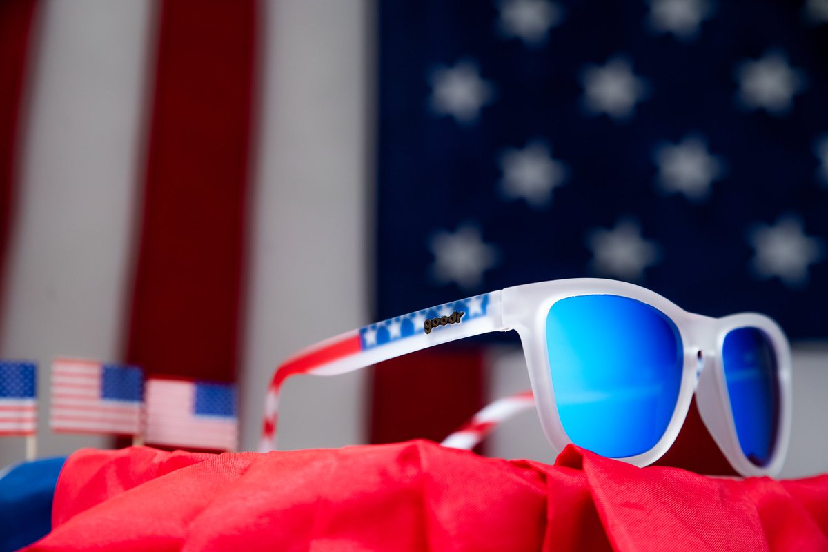 SUCK IT, KING GEORGE! Is the colorway name of these American flag themed sunglasses with blue lenses. Probably don't need to talk about that much further. Though, maybe you have some thoughts? #goodr #bikegoodr <br>http://pic.twitter.com/4a8jY0CugH