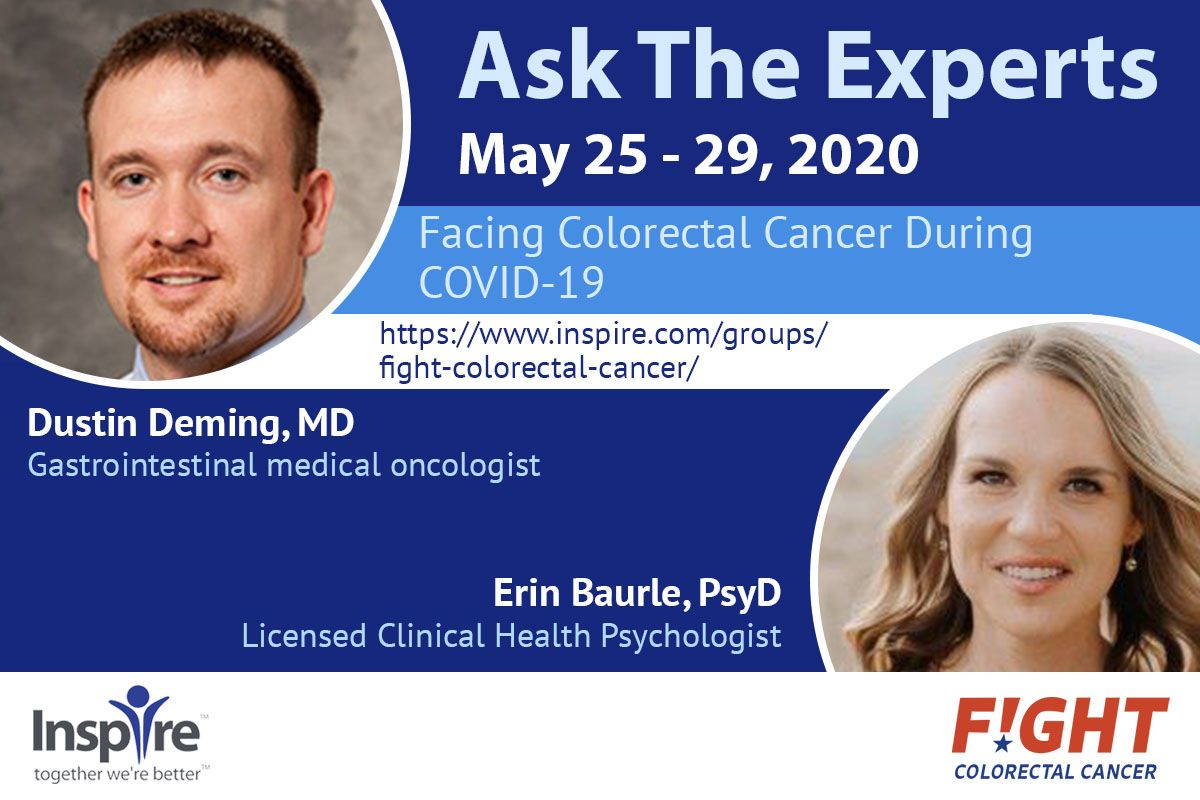 Are you facing #ColorectalCancer during the #COVID19 pandemic? @DocDustyD, gastrointestinal medical oncologist, and Erin Baurle, PsyD, Licensed Clinical Health Psychologist are answering your questions via @teaminspire!   https://buff.ly/2LTzw1spic.twitter.com/gIHACFv7bV