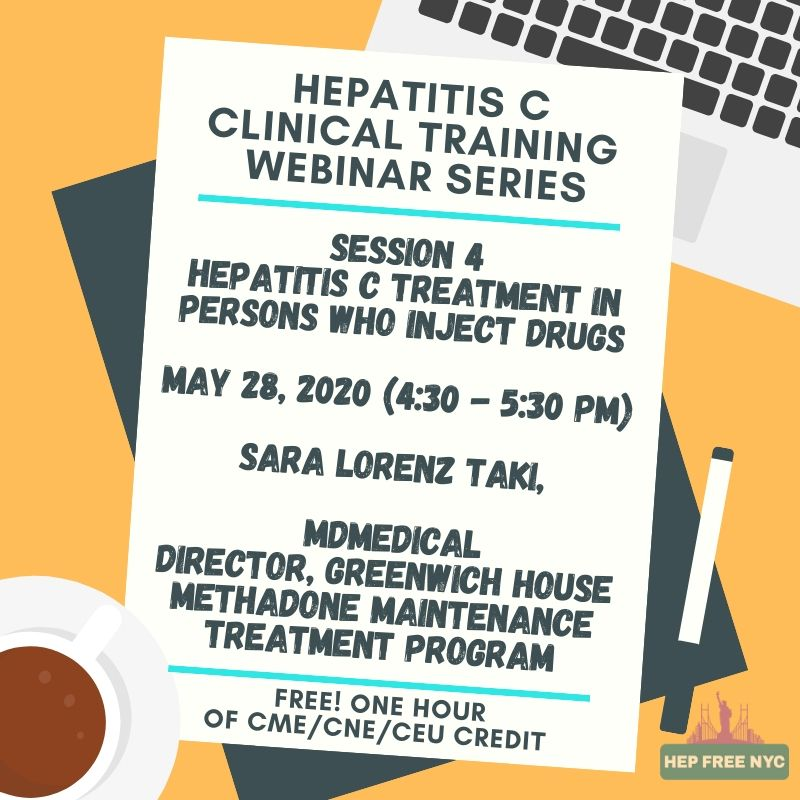 Join the final Spring #HepC Clinical Training Session: Hep C Treatment in Persons Who Inject Drugs - May 28th @ 4:30pm EST.  Register now @ http://Hepfree.nyc/events  #PWID Free #CME #CNE #CEU pic.twitter.com/YSyeknPfrA