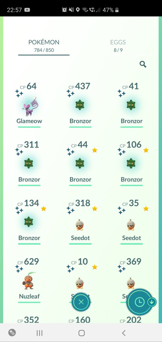 Today has been nutty for shiny Pokémon in #PokemonGO today!  6 bronzors and a glameow  pic.twitter.com/LvJJm8cNZG