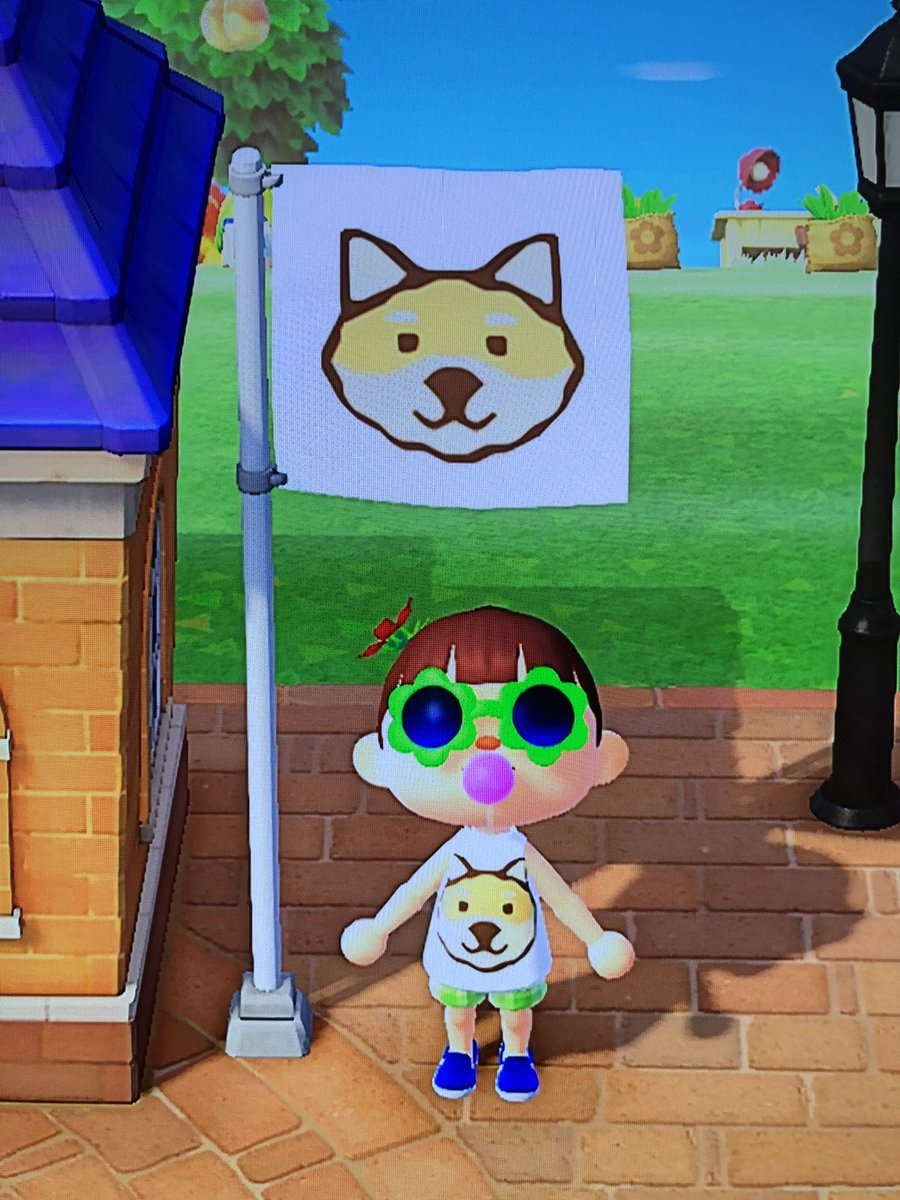 Y'all my island name is Po Palace after my pup. I decided to change my flag today and I'm so proud of my masterpiece! #AnimalCrossingNewHorizons #shiba pic.twitter.com/K80DmSlano