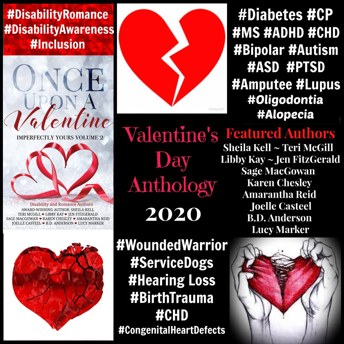 💘🤟🏼♿️💘 #ValentinesDay #KindleUnlimited🆓#KU #Anthology #Romance #ContemporaryRomance #NewAdult #DisabledCharacters #DisabilityRomance #Disabilities #Inclusion #Deaf🤟🏼 #MS #PTSD #WoundedWarrior #Amputee #ServiceDog #Lupus #Diabetes #CHD💔 #CHDwarrior💔#CP https://t.co/htJ8pB1c5O https://t.co/riZxH9cODM