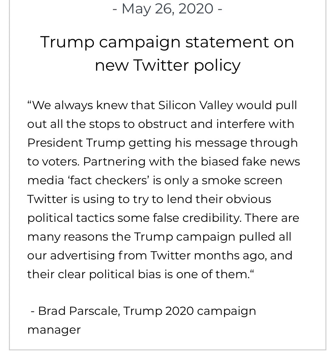 "Trump campaign manager on Twitter flagging Trump mail in vote tweets: ""We always knew that Silicon Valley would pull out all the stops to obstruct and interfere with President Trump getting his message through to voters."""
