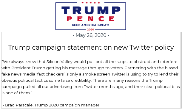 Brad Parscale, Trump 2020 campaign manager on Twitter policy changes today: We always knew that Silicon Valley would pull out all the stops to obstruct and interfere with President Trump getting his message through to voters.