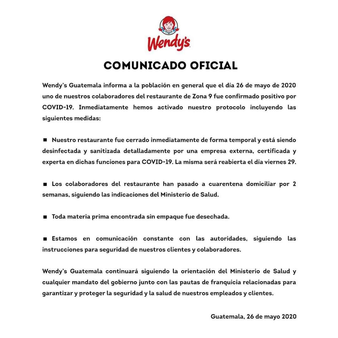 test Twitter Media - Restaurante de comida rápida Wendy's, informa sobre caso de COVID-19 en trabajador de sucursal ubicada en la zona 9 de la Ciudad Capital. https://t.co/pmynH25pDk