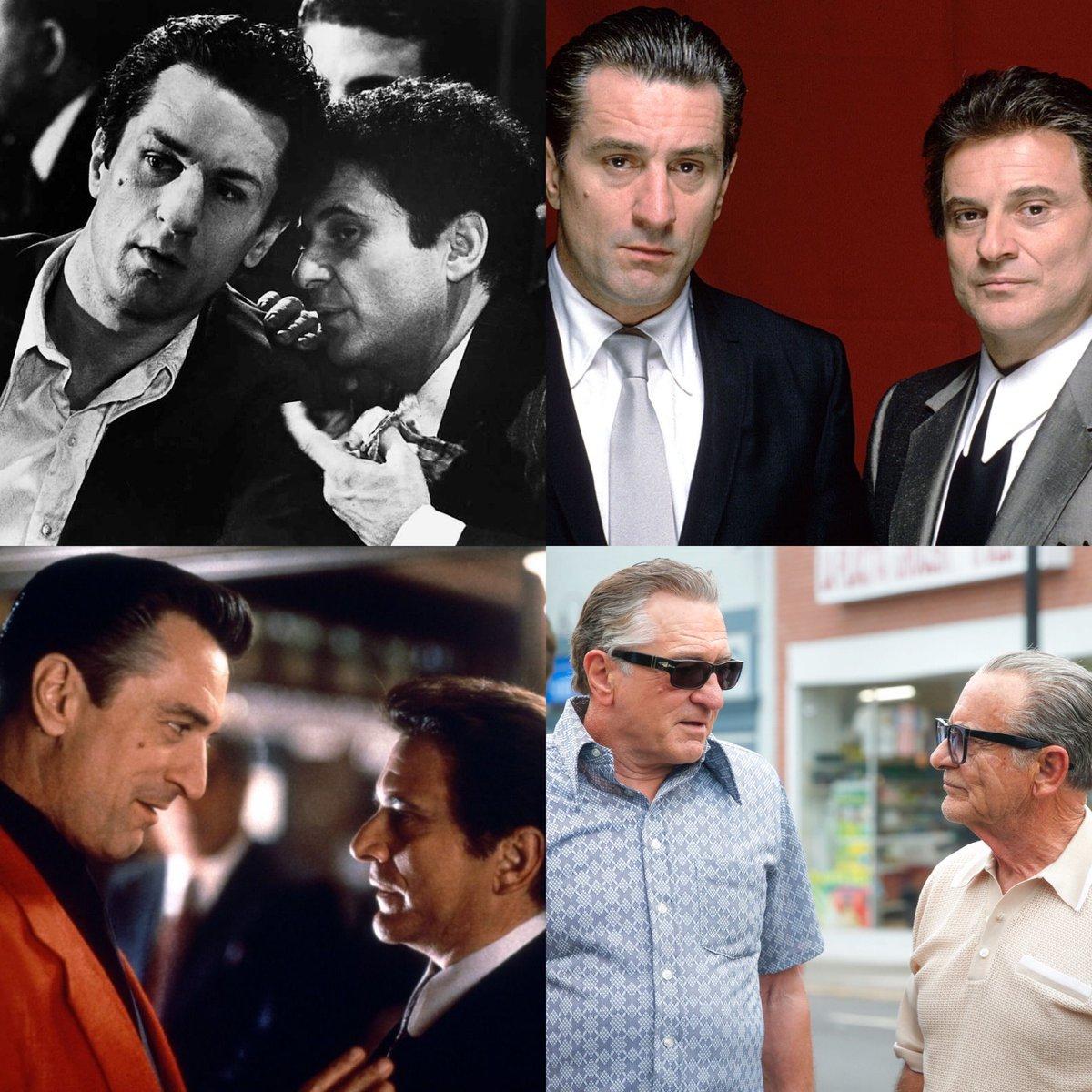 Robert de Niro  Joe Pesci  Raging Bull (1980) Goodfellas (1990) Casino (1995) The Irishman (2019) <br>http://pic.twitter.com/QU8AbqMbxU