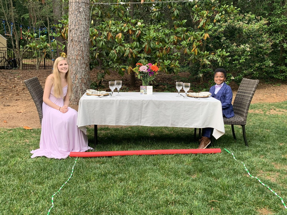 My daughter has been a nanny for this amazing kid for over a year. When he realized she wouldn't have a senior prom, he wanted to throw her one. He planned a socially distant prom, complete with dancing & her favorite foods.  @somegoodnews @ABC11_WTVD #bestpromever  #SomeGoodNews https://t.co/8T8LY3DQZw