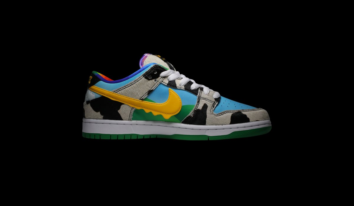 Made in collaboration with Ben & Jerry's, the Nike Dunk Low SB 'Chunky Dunky' replicates the packaging used for the ice cream, featuring cow-print overlays, blue sky and green hill panels and a dripping Swoosh for added visual flair. Available on the app: https://t.co/EperWRNIo6 https://t.co/UsgY3wEiT5