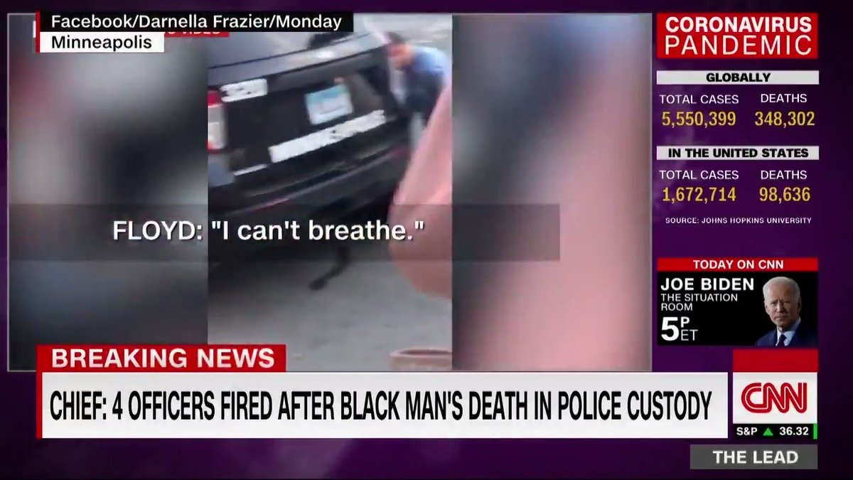 Four Minneapolis police officers have been fired for their involvement in the death of George Floyd, a black man who was held down with a knee as he protested that he couldn't breathe, officials said Tuesday. The FBI is investigating the incident. cnn.it/2A8l0QU