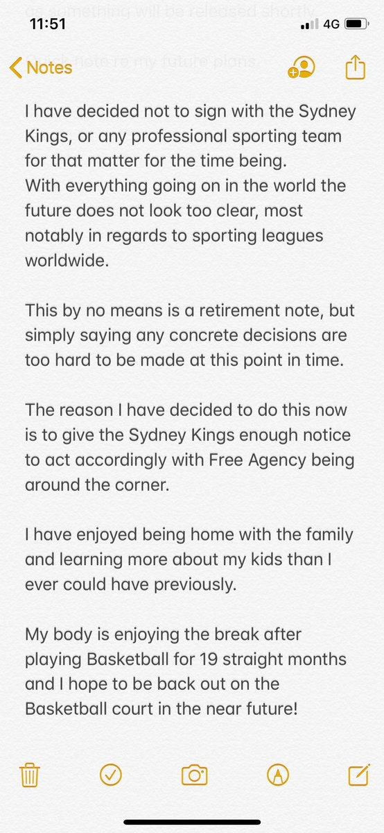 Note re: @SydneyKings and my Basketball future https://t.co/1T6GndluAO