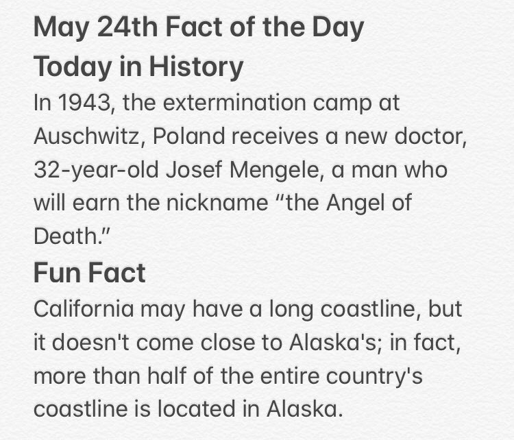 Fact of the Day for May 24th #factofthedaypic.twitter.com/zkuW7uVhxD