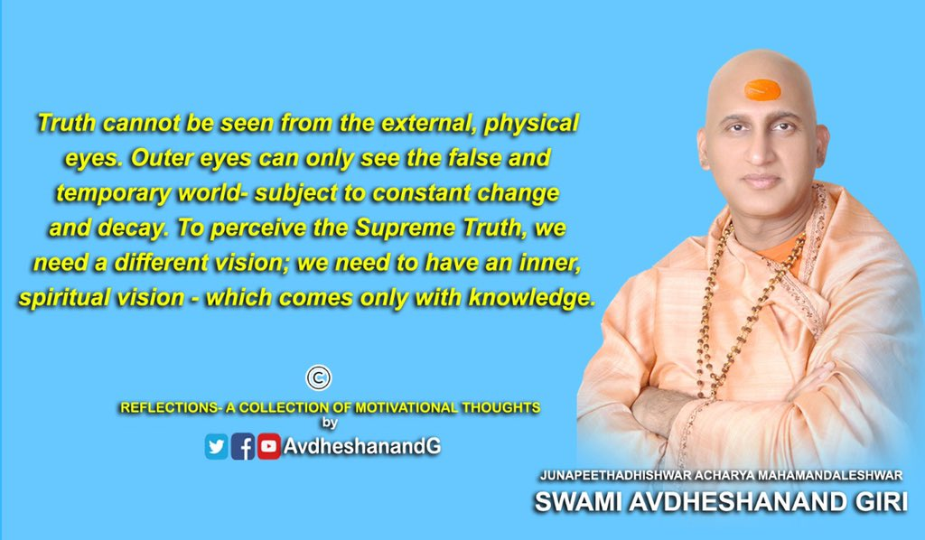 Make an effort to acquire spiritual knowledge. It is the way to acquiring victory over doubts, fear, sorrow and ignorance. Stay indoors,stay safe. #एकांतऔषधिहै #SaveLordBalajiLands #नांदेड़ #BePositive #palghar #COVID19 #IncredibleIndia #motivation pic.twitter.com/W43UVvqGDd – at Harihar Ashram