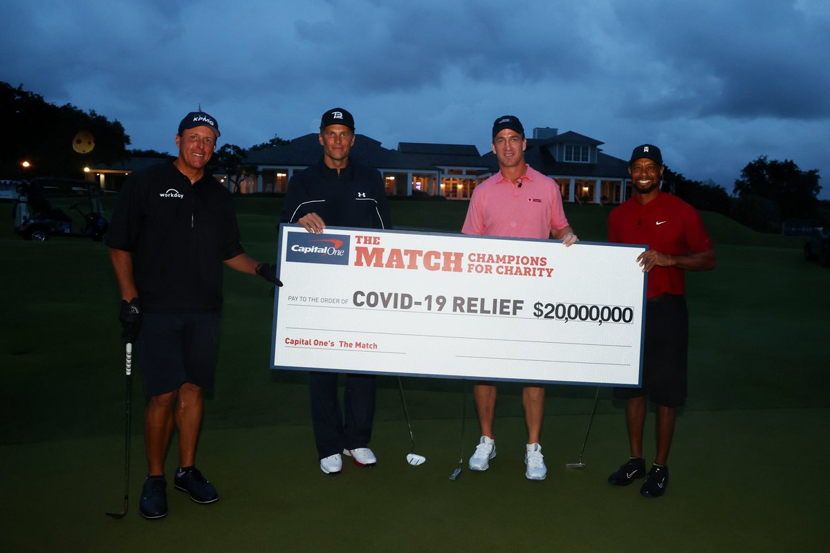 What a job by Peyton. Thanks for helping me beat @PhilMickelson this time around. @TomBrady showed up too. What a fun day for an even better cause!