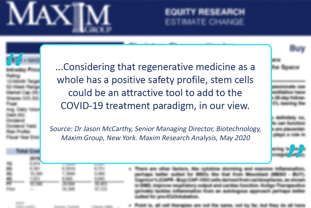 """Maxim Group Equity Research, May 2020: """"While there are differences between the approaches, the story seems to be the same, whether its PLX, CDCs, or MSCs, stem cells have the ability to modulate immune system homeostasis, improving outcomes in #ARDS....."""" #stemcells #COVID19 https://t.co/LGyKxH1ewH"""