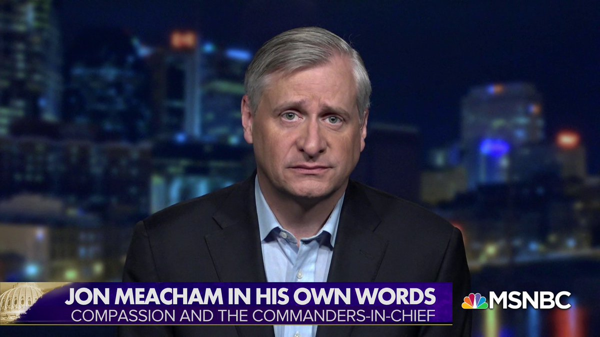 "And now @jmeacham in his own words this Memorial Day Weekend  ""We're living with an American President who bullies, hectors and preens; who's more interested in self-preservation and self-justification, than the health of the nation and of its people."" https://t.co/BSzncOmKun"