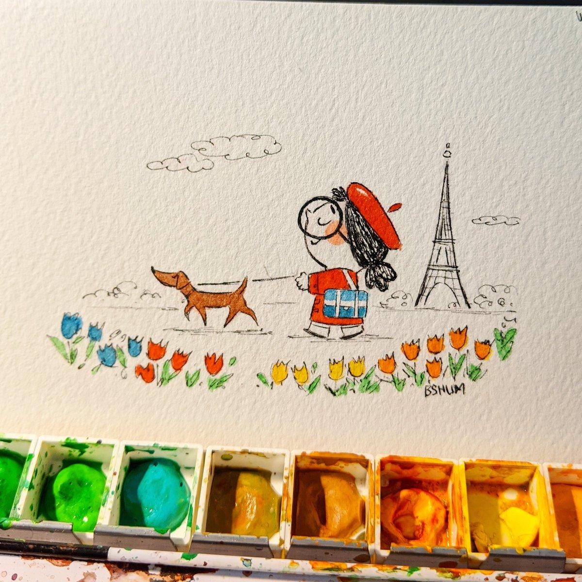 A stroll in the park. #Paris #kidlitart #illustrationpic.twitter.com/KckI04Or1Y