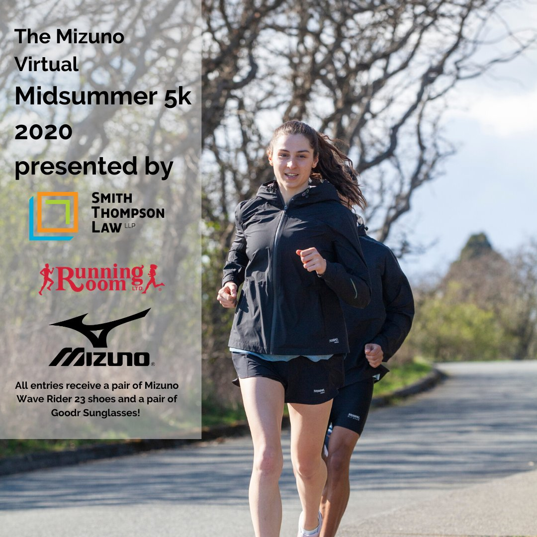 Check out the Mizuno Virtual Midsummer 5K 2020 Presented by Smith Thompson Law LLP from July 9-12.   All participants will receive a pair of Mizuno Wave Rider 23 shoes and a pair of GoodR sunglasses (Retail value of $200+!). Great prizes for age group top finishers! <br>http://pic.twitter.com/f4oSgsEhF9