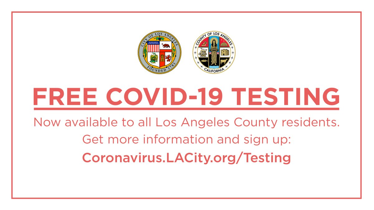 Expanding access to COVID-19 testing is essential to stopping the spread of this deadly virus.  We're opening a new testing site at Dodger Stadium to accommodate even more Angelenos.  With or without symptoms, you can get a free test. Sign up now: http://Coronavirus.LACity.org/Testing.pic.twitter.com/1CyoHC5U8k