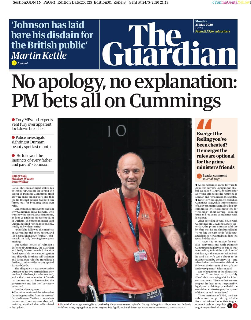 "Monday's Guardian: ""No apology, no explanation: PM bets all on Cummings"" #TomorrowsPapersToday #BBCPapers (via @hendopolis)"