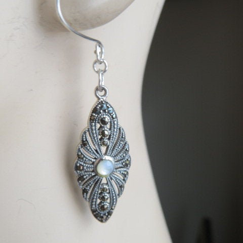 Excited to share the latest addition to my #etsy shop: Handcrafted Designer Genuine Mother of Pearl and Marcasite 925 Sterling Silver Dangle Earrings, Wt. 8 Grams  https:// etsy.me/3girJYZ     #valentinesday #silver #women #earwire #artnouveau #earlobe #925sterlingsilver #ge<br>http://pic.twitter.com/2IagZr5jOr