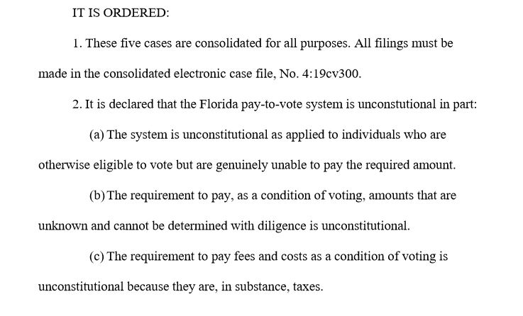 In a major victory, a federal judge just struck down Floridas pay-to-vote system. And he demanded that the state take no steps to block people from voting based on the law @GovRonDeSantis signed last year to undermine Amendment 4 that voters passed in 2018 @CBSMiami