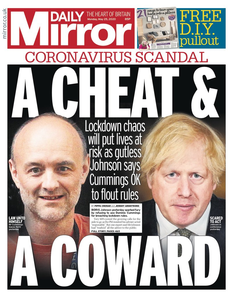 "Monday's Mirror: ""A cheat & a coward"" #TomorrowsPapersToday #BBCPapers (via @hendopolis)"