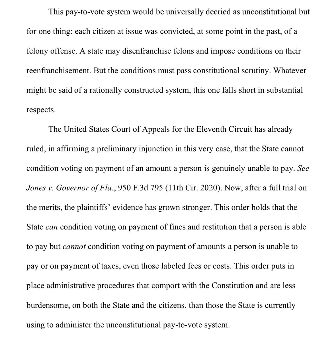 "Judge Hinkle's decision invalidating Florida's ""pay-to-vote"" scheme as an unconstitutional poll tax is one of the best voting rights opinions I've ever read. Incredibly thorough, meticulous, fact-laden, and quite stirring. It's worth your time. campaignlegal.org/sites/default/…"