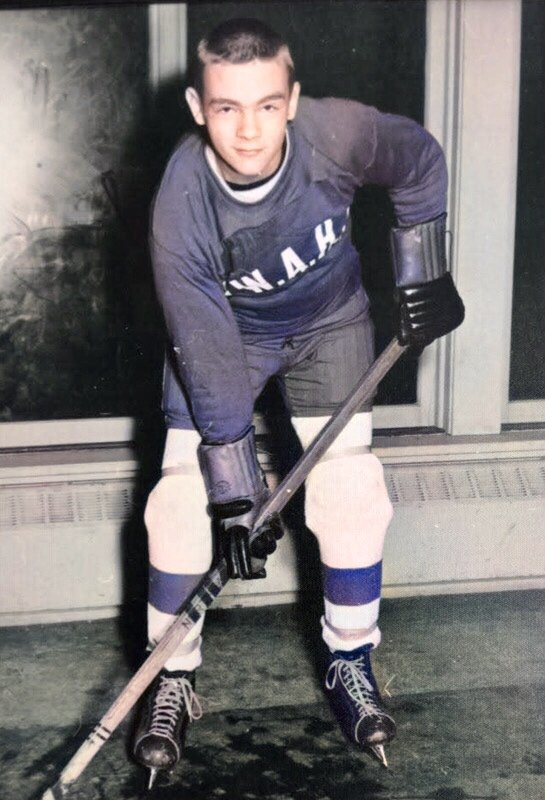 One of my online friends colorized that old #hockey photo of my dad. Pretty cool to see it in color!