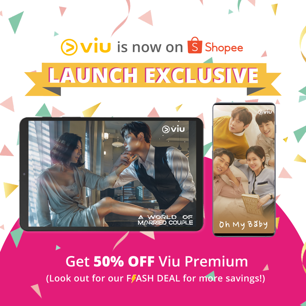 Have you heard? @ViuSG is on @ShopeeSG! And 6/12 months Viu Premium subscription is 50% off! Thats not all. Get an additional month FREE by filling in this form (bit.ly/ViuxShopee30Fr…) after purchase, with the promo code sgxclusive30! #ViuOnShopee #StayHomeWithViu