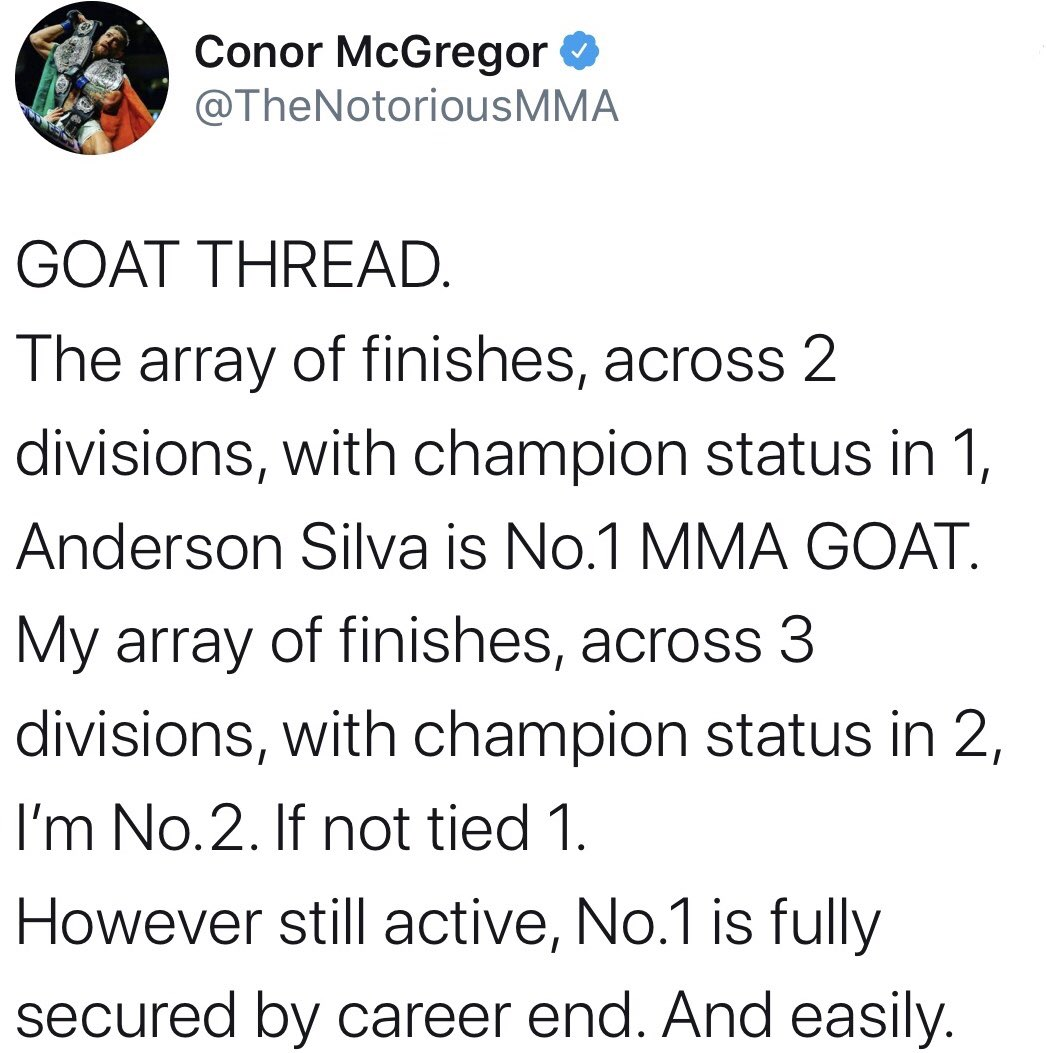 Do you agree with @TheNotoriousMMA on the Top 4 MMA GOATS🐐🐐? #McGregor #ConorMcGregor #goat #goats #JonJones #ufc #danawhite #gsp #andersonsilva https://t.co/ITMktYIu30
