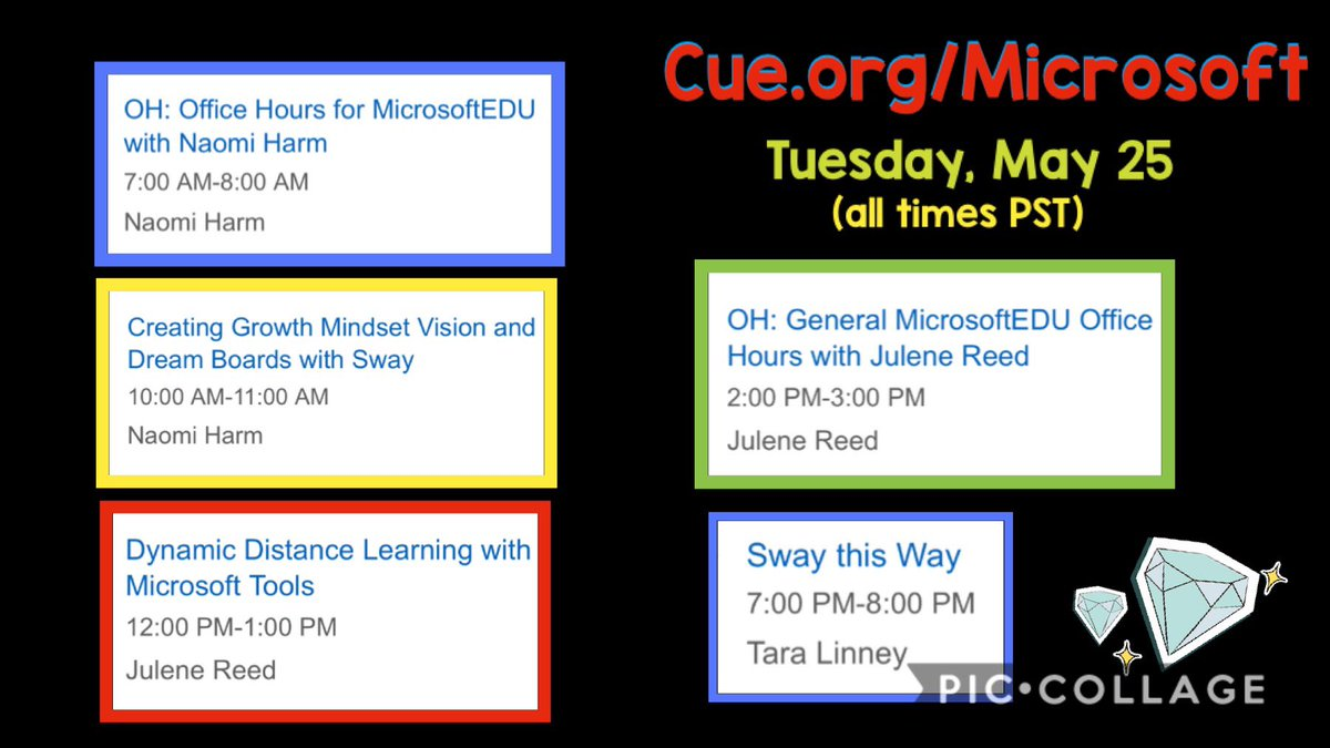 👀 I just took a peek at tomorrow's schedule for CUE + Microsoft's free online PD summer series we have FIVE awesome opportunities to learn! ⏰ Office hours are open, too, so we can just ask these experts any questions we want! 🤩 #GETA #MicrosoftEdu #WeAreCUE