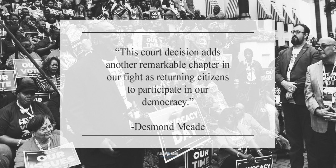 We will remain vigilant in our commitment to place people over politics, and ensure that all returning citizens, no matter how they may vote, have an opportunity to possess what we believe to be the most endearing sign of citizenship, the right to vote. -@desmondmeade