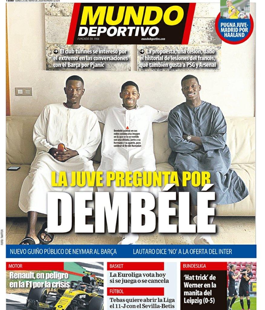 📰 MUNDO DEPORTIVO |  Juventus ask about Ousmane Dembélé.  #ForçaBarça #FCB https://t.co/Vqy3pXLdfR