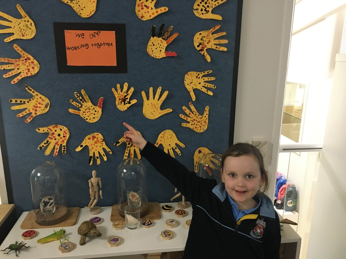 Ahead of #NRW2020 this week, Florence (ELC) shows us the handprint display, symbolising that we're #InThisTogether2020. #NationalReconciliationWeek